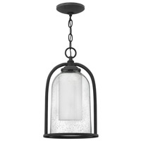 Quincy 1 Light 9 inch Aged Zinc Outdoor Hanging Light in Incandescent, Seedy Outer Glass