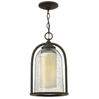 Quincy 1 Light 9 inch Oil Rubbed Bronze Outdoor Hanging Lantern in LED, Clear Seedy and Amber Glass