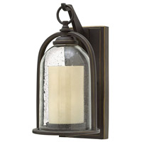 Hinkley 2614OZ-LED Quincy LED 14 inch Oil Rubbed Bronze Outdoor Wall Mount, Clear Seedy and Amber Glass