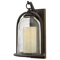 Hinkley 2615OZ-LED Quincy LED 17 inch Oil Rubbed Bronze Outdoor Wall Mount, Clear Seedy and Amber Glass
