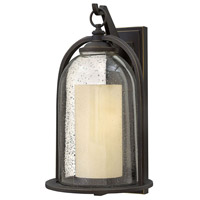Hinkley 2618OZ-LED Quincy LED 20 inch Oil Rubbed Bronze Outdoor Wall Mount, Clear Seedy and Amber Glass