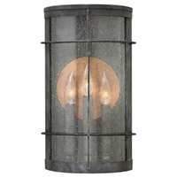 Hinkley 2625DZ Newport 3 Light 16 inch Aged Zinc Outdoor Wall Lantern, Clear Seedy Glass
