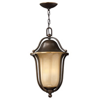 Hinkley Lighting Bolla 1 Light Outdoor Hanging Lantern in Olde Bronze with Light Amber Seedy Glass 2632OB-LED
