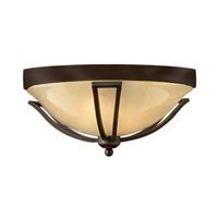 Hinkley 2633OB-LED Bolla LED 17 inch Olde Bronze Outdoor Flush Mount, Light Amber Seedy Glass