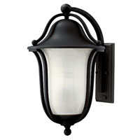 Bolla 1 Light 19 inch Black Outdoor Wall in Clear Seedy Etched Inside, GU24