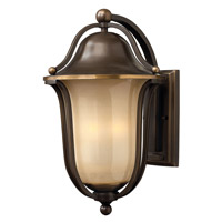 Hinkley Lighting Bolla 1 Light Outdoor Wall Lantern in Olde Bronze with Light Amber Seedy Glass 2635OB-LED