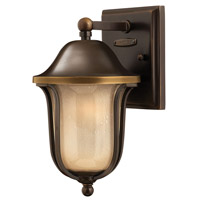Hinkley Lighting Bolla 1 Light Outdoor Wall Lantern in Olde Bronze with Light Amber Seedy Glass 2636OB-LED