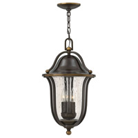 Bolla 3 Light 11 inch Olde Bronze Outdoor Hanging Lantern, Clear Seedy Glass