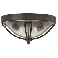 Bolla 2 Light 17 inch Olde Bronze Outdoor Flush Mount, Clear Seedy Glass