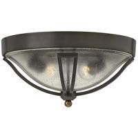 Hinkley 2643OB Bolla 2 Light 17 inch Olde Bronze Outdoor Flush Mount, Clear Seedy Glass