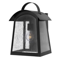 Hinkley 2655BK Putney Bridge 1 Light 16 inch Black Outdoor Wall, Seedy Glass
