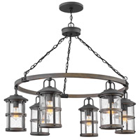 Hinkley 2689DZ Lakehouse 6 Light 42 inch Aged Zinc with Driftwood Grey Accents Outdoor Chandelier