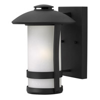 Hinkley Lighting Chandler 1 Light Outdoor Wall Lantern in Black with Etched Seedy Glass 2700BK-LED