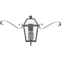 Hinkley 2774BLB-SCR Heritage Nouvelle 3 Light 27 inch Blackened Brass/Black Outdoor Wall Mount in LED