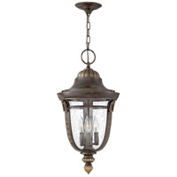 Key West 3 Light 12 inch Regency Bronze Outdoor Hanging Light in Incandescent, Clear Seedy Glass