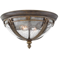 Hinkley 2903RB Key West 2 Light 15 inch Regency Bronze Outdoor Flush Mount in Incandescent, Clear Seedy Glass
