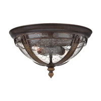 Hinkley Lighting Key West 2 Light Outdoor Flush Lantern in Regency Bronze with Clear Seedy Glass 2903RB-GU24