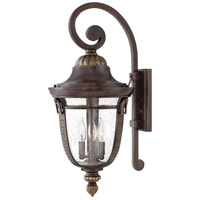 Hinkley 2905RB Key West 3 Light 27 inch Regency Bronze Outdoor Wall Mount in Incandescent, Clear Seedy Glass