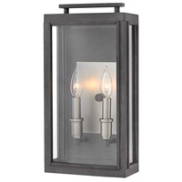 Sutcliffe 2 Light 17 inch Aged Zinc Outdoor Wall Mount in Candelabra