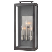 Hinkley 2915DZ Sutcliffe 3 Light 22 inch Aged Zinc Outdoor Wall Mount in Candelabra