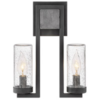 Hinkley 29202DZ Sawyer 2 Light 12 inch Aged Zinc Outdoor Sconce in Incandescent, Open Air