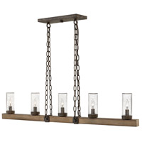 Hinkley 29205SQ Open Air Sawyer 5 Light 42 inch Sequoia/Iron Rust Outdoor Linear Light in Incandescent
