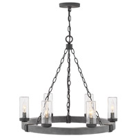 Hinkley 29206DZ Sawyer 6 Light 24 inch Aged Zinc Outdoor Chandelier in Incandescent, Open Air