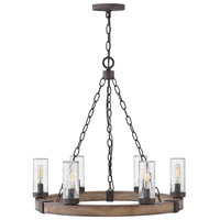Hinkley 29206SQ Sawyer 6 Light 24 inch Sequoia Outdoor Chandelier, Open Air