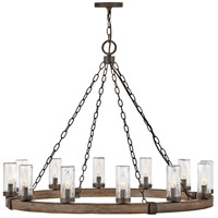 Hinkley 29207SQ Sawyer 12 Light 38 inch Sequoia with Iron Rust Outdoor Hanging Light, Open Air