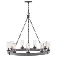 Hinkley 29208DZ Sawyer 9 Light 30 inch Aged Zinc Outdoor Chandelier, Single Tier