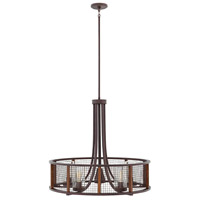 Beckett 6 Light 30 inch Iron Rust Outdoor Chandelier, Open Air