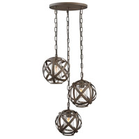 Carson 3 Light 21 inch Vintage Iron Outdoor Pendant