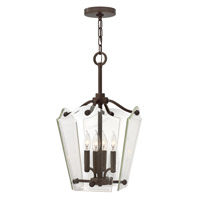 Hinkley 3000OZ Wingate 4 Light 12 inch Oil Rubbed Bronze Foyer Pendant Ceiling Light, Clear Beveled Glass