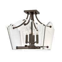 Hinkley 3001OZ Wingate 4 Light 16 inch Oil Rubbed Bronze Semi Flush Ceiling Light, Clear Beveled Glass photo thumbnail
