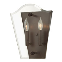 Hinkley 3002OZ Wingate 2 Light 1 inch Oil Rubbed Bronze Sconce Wall Light, Clear Beveled Glass