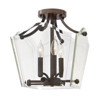 Wingate 3 Light 12 inch Oil Rubbed Bronze Semi Flush Ceiling Light, Clear Beveled Glass