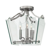 Hinkley Lighting Wingate 3 Light Semi Flush in Polished Antique Nickel 3003PL