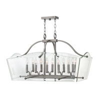 Wingate 10 Light 32 inch Polished Antique Nickel Foyer Pendant Ceiling Light, Clear Beveled Glass