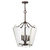 Hinkley 3006OZ Wingate 4 Light 16 inch Oil Rubbed Bronze Foyer Pendant Ceiling Light, Clear Beveled Glass