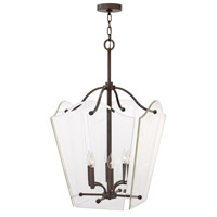 Hinkley 3008OZ Wingate 6 Light 20 inch Oil Rubbed Bronze Foyer Pendant Ceiling Light, Clear Beveled Glass