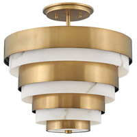 Hinkley 30183HB Lisa McDennon Echelon 3 Light 16 inch Heritage Brass Semi-Flush Mount Ceiling Light