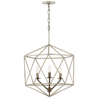 Astrid 3 Light 20 inch Glacial with Metallic Matte Bronze Accents Chandelier Ceiling Light, Open Frame