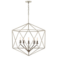 Astrid 5 Light 28 inch Glacial with Metallic Matte Bronze Accents Chandelier Ceiling Light, Open Frame