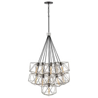Astrid 11 Light 34 inch Glacial with Metallic Matte Bronze Accents Chandelier Ceiling Light, Multi Tier