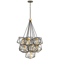 Astrid 11 Light 34 inch Metallic Matte Bronze with Deluxe Gold Accents Chandelier Ceiling Light, Multi Tier