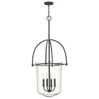 Hinkley 3034DZ Clancy 4 Light 19 inch Aged Zinc Foyer Light Ceiling Light, Clear Glass