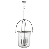 Hinkley 3034PN Clancy 4 Light 19 inch Polished Nickel Foyer Ceiling Light, Clear Glass