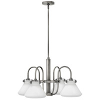 Hinkley 3040AN Congress 4 Light 26 inch Antique Nickel Chandelier Ceiling Light, Retro Glass