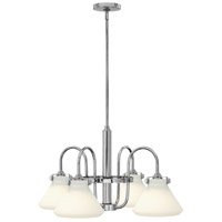 Hinkley 3040CM Congress 4 Light 26 inch Chrome Chandelier Ceiling Light, Retro Glass