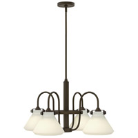 Hinkley 3040OZ Congress 4 Light 26 inch Oil Rubbed Bronze Chandelier Ceiling Light, Retro Glass